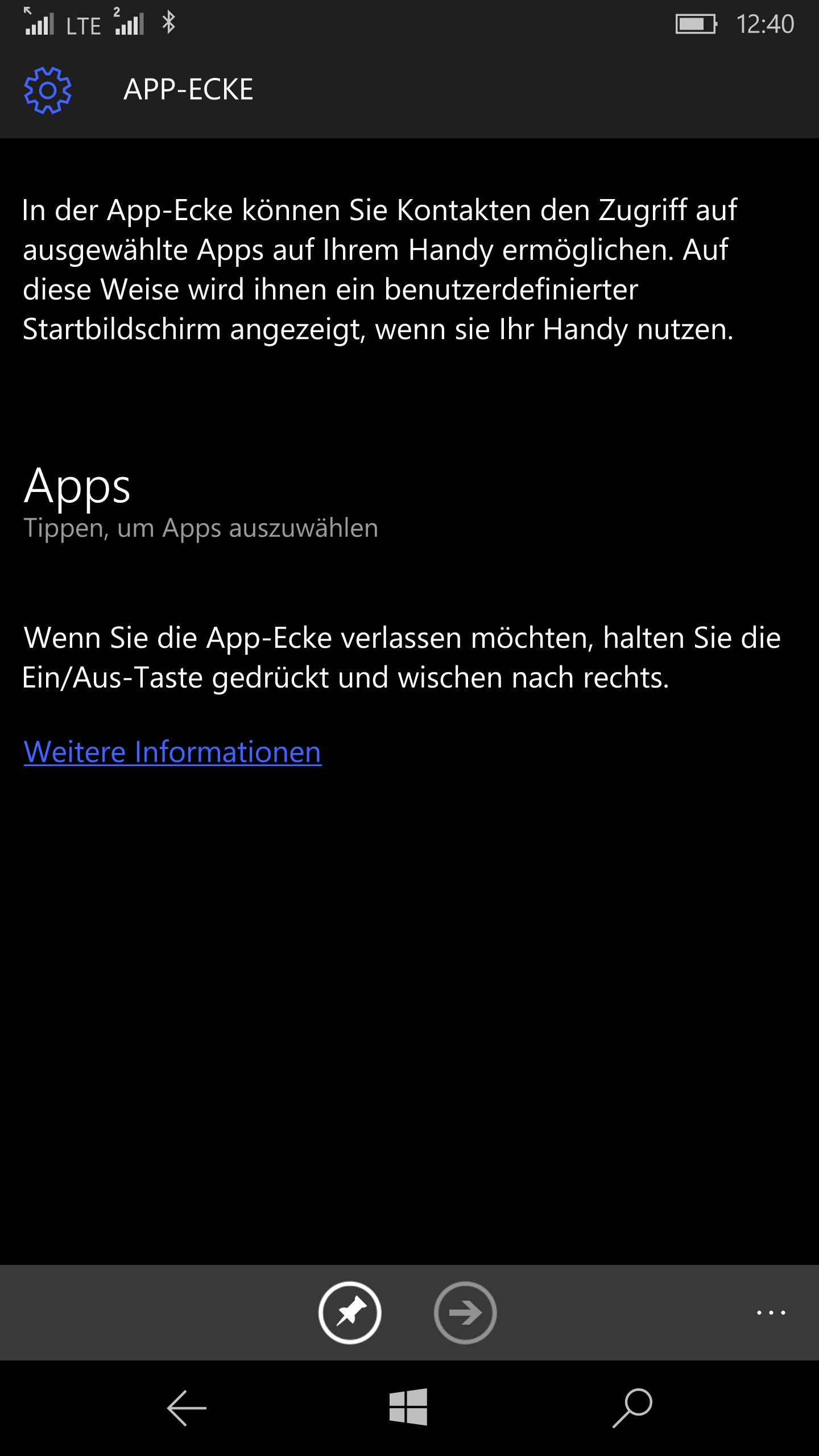 tipp einrichten der app ecke unter windows 10 mobile software windows 10 windows phone. Black Bedroom Furniture Sets. Home Design Ideas
